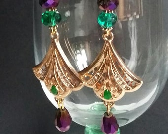 Earrings dangle pierced style and fashion fan and beads