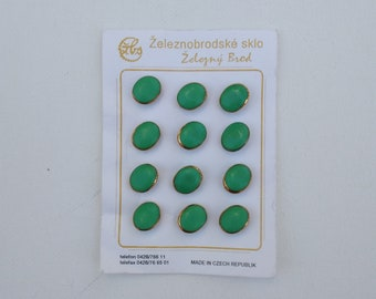 Dozen Vintage Green Buttons with Gold Rims -  Zeleznobrodske Sklo - Made in Czech Republic - Twelve 1/2 Inch Self Shank Oval Glass Buttons
