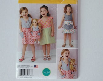Child's Dress and Dress for 18 Inch Doll - Simplicity Pattern 0613 -  Girls' Sizes 3. 4, 5, 6, 7. 8  - Uncut. Factory Folded Sewing Pattern