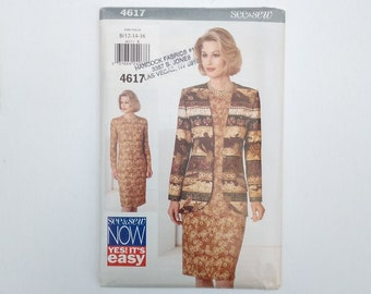 Butterick See & Sew Pattern 4617 -  Straight, Long-Sleeved Dress and Unlined Jacket -- Misses'  Sizes 12, 14, 16 -  Uncut