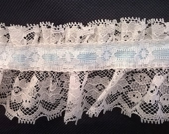 Ruffled White Lace with Light Blue Satin Ribbon - Five Yards of 3 Inch Wide Floral Craft Lace Trim - 5 Yd. Length