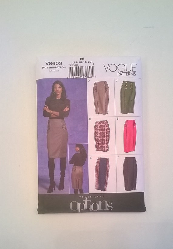 Vogue Skirt Pattern 8603 - Princess Seam Straight Skirts in 2 Lengths -  Misses' Sizes 14, 16, 18, 20 - Complete