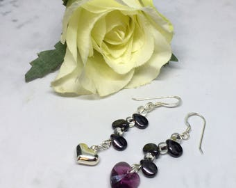 mismatched sterling silver love earrings with purple Swarovski crystal