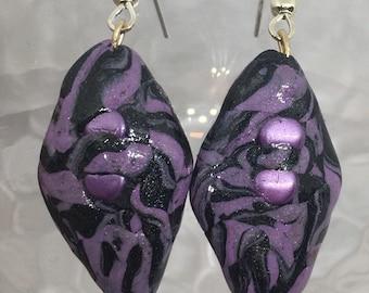 Groovy handmade clay earrings