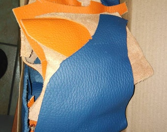 Small drops of orange and blue leather, leather for jewelry, cow leather
