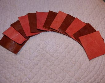 12 LITTLE COUPONS COWHIDE RED LEATHER AGED AND BROWN