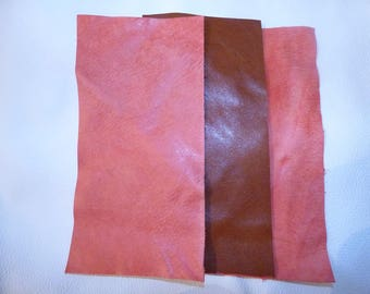 3 COUPONS COWHIDE RED LEATHER AGED AND BROWN