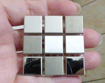 9 MOSAICS IN STAINLESS STEEL MIRROR AND BRUSH