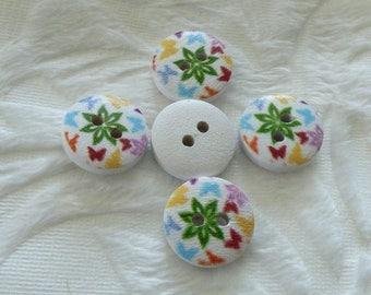 WHITE BUTTERFLIES DECORATED WITH WOODEN BUTTON