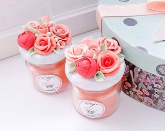Fall Bridal Shower Favors, Orange Rose Wedding Favor, October Wedding, Fall Wedding Favors, Personalized Bridal Candle Favors, Orange Favors