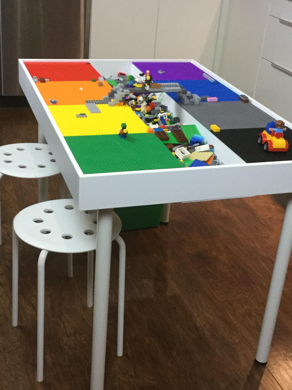 tall large building bricks table kids building blocks table etsy. Black Bedroom Furniture Sets. Home Design Ideas