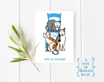 Greek Cats Postcard - Cat Illustration - Cat Gift - Cat Lady - Cats of Greece - All So Lovely