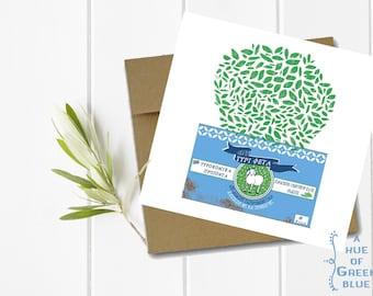 Greek Feta Tin & Basil Greeting Card with Kraft Envelope