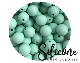 12mm - 5+ Mint Green Round Silicone Beads, Silicone Teething Beads, 100% Food Grade Silicone Beads, BPA Free, Silicone Loose Bead