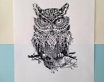 Owl linoleum print