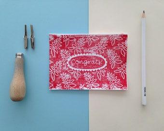 Card linoleum print 'congrats!'