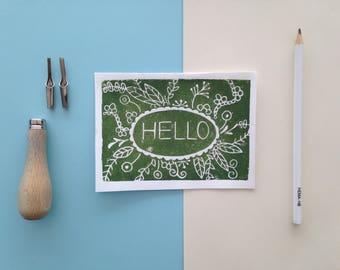 Linoleum card/print 'hello'