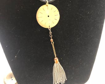 Large watch face tassel necklace