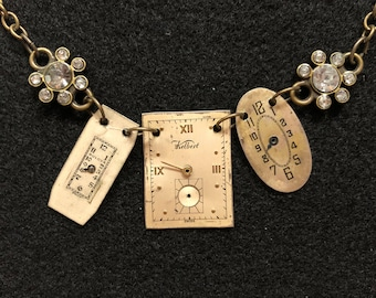 Watch Face Necklace with Flower and Rhinestone Accents