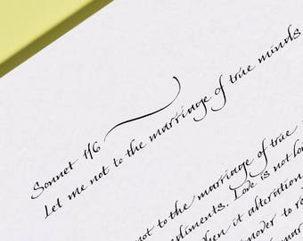 Sonnet 116 by William Shakespeare - Let me not to the marriage of true minds print - Sonnet 116 Calligraphy Print
