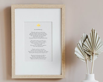 Irish Blessing Calligraphy Print framed - Irish gift for the home - Religious gift - Prayer print - Religious quote - Framed Poster