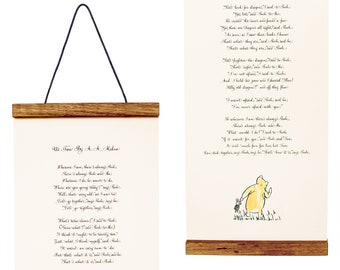 Winnie the Pooh Print Us Two- A.A. Milne in calligraphy - Framed Art - Nursery Gift