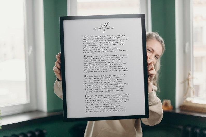If by Rudyard Kipling Framed  Poem Calligraphy Print  Black image 0