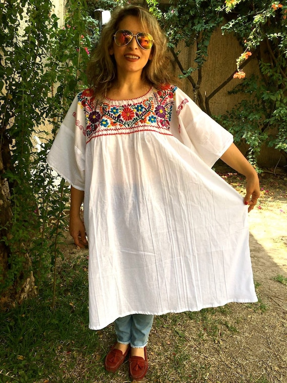 4XL. Mexican Embroidered Dress for Women. Boho dress. Bohemian dress. White  Embroidery Tunic. Fresh dress. Plus Size Free Shipping