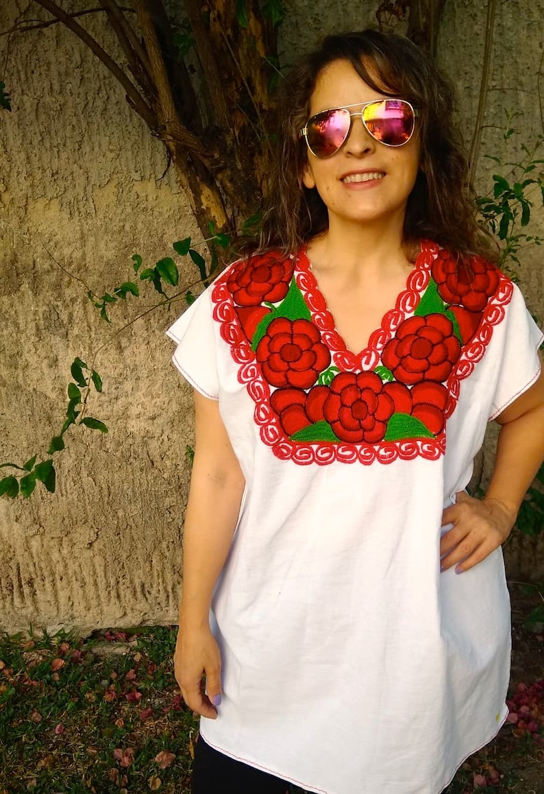hippie shirt peasant blouse,Boho blouse Embroidered mexican blouse Frida style 2XL /& M Bohemian fashion traditional embroidered boho