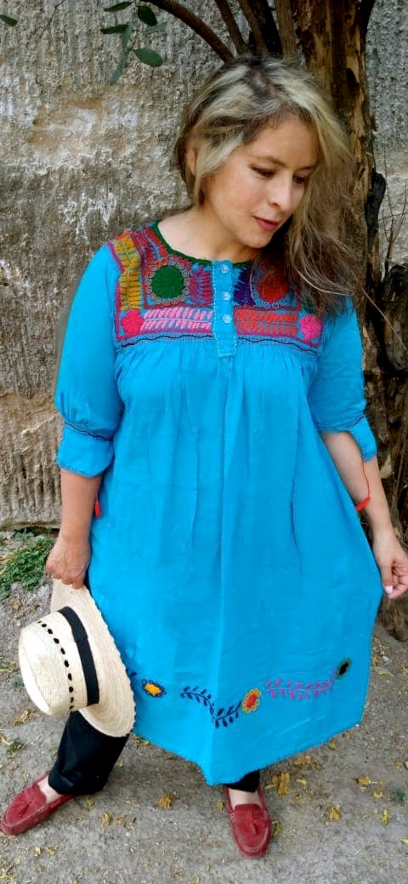 cotton tunic mexican dress Embroidery dress MEDIUMLARGE traditional embroidery TURQUOISE. Beach dress Frida dress Mexican Huipil