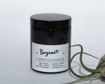 bergamot hand poured candle / vegan soy wax / amber jar / gift / scented candle / aromatherapy  / essential oil / handmade / relax / 180ml
