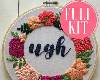 full kit | hand embroidery kit | embroidery kit | diy embroidery | diy embroidery kit | embroidery pattern | modern embroidery kit | ugh