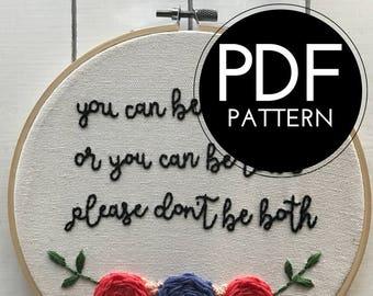 digital hand embroidery pattern | please don't be stupid | digital PDF download | embroidery pdf | embroidery pattern