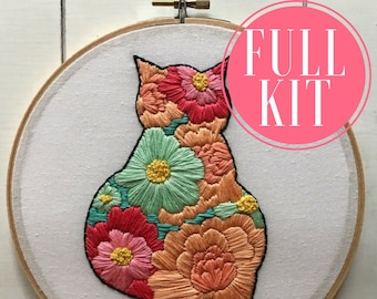 full kit | hand embroidery kit | embroidery kit | diy embroidery | diy embroidery kit | embroidery pattern | modern embroidery kit | cat