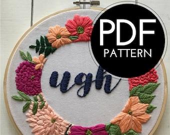 digital hand embroidery pattern | ugh design | digital PDF download | embroidery pdf | embroidery pattern