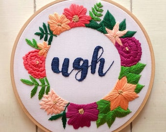 "embroidery hoop   embroidery art   hand embroidery   modern embroidery   ugh   floral wreath   7"" hoop  "