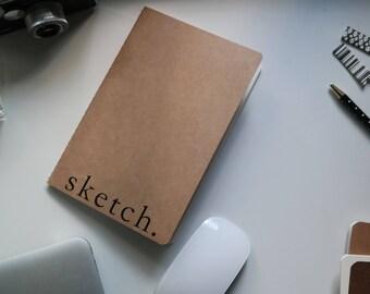 Sketch Notebook // Kraft Paper Cover // No Lines // Art // Design // Lists // Journal // Notebook // Planning // Sketchbook // Black & White