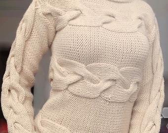 c8863ce8cb71 Chunky Oversized gorizontal cable knit sweater