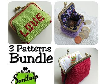 Crochet coin purse pattern, kiss lock clasp purse PDF Pattern, tutorial, DIY gift idea, crochet pattern bundle, instant download