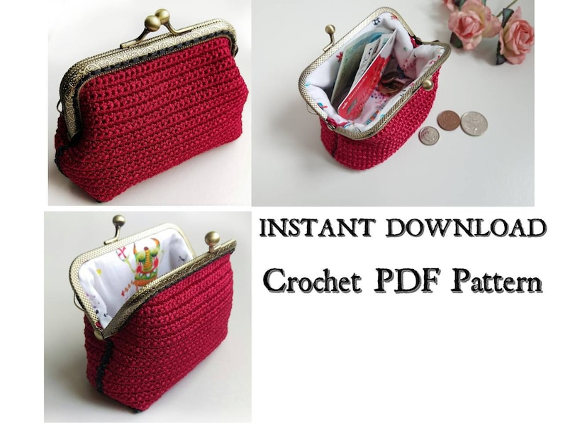 Crochet Pattern Coin Purse Instant Download Kiss Lock Clasp Etsy