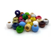 100 Wooden Beads Colorful 8 10 12 mm Large Hole 4 5 mm Wood Beads for Threading Ball for Crafting with Hole Spacer Intermediate Beads for DIY Jewelry
