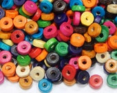 250pc wooden beads for threading 8 mm colorful rondell ring for crafting spacer beads intermediate beads wooden ring