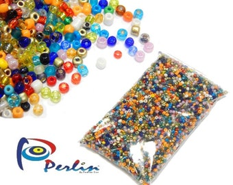 400+//- 6//0 28g or 1 oz bag Size 6 Mixed Colors Glass Seed Beads