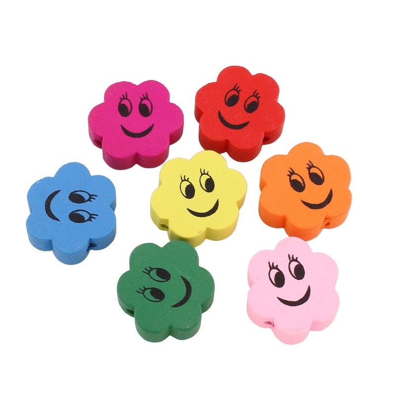 Wooden Beads KIDS SCHNULLERKETTEN BASTELN SPEICHELFEST 19 Mm Pearls To FAUNGHING Colorful Blume Smiley Face Motif