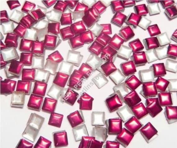 1500 Nailhead Hotfix 4mm Fuchsia Quadrate Metall