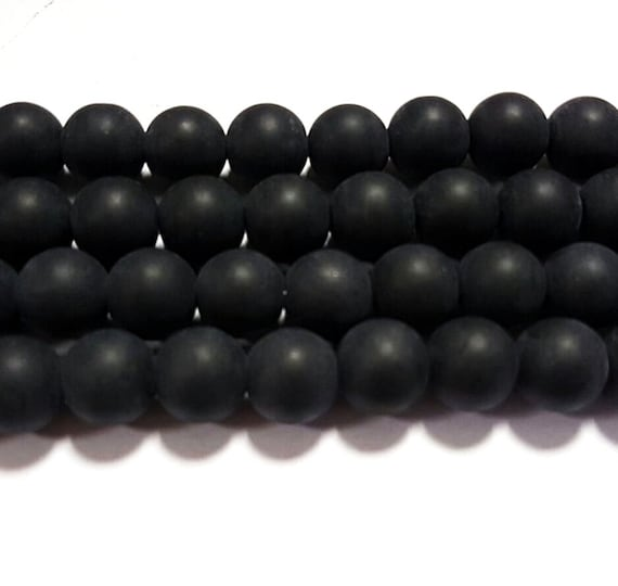 140 x 6mm Strand Black Frosted Glass Round Beads