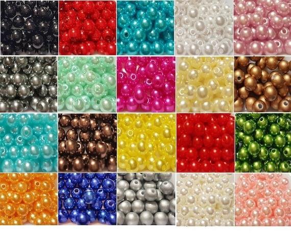 100 stück 8mm durchsichtig rund schimmernd acryl-perlen farbenauswahl