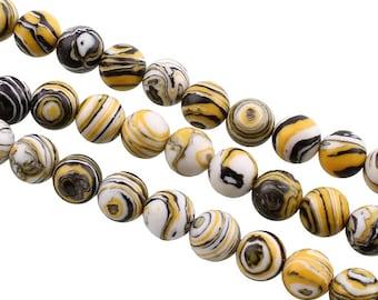 Stripes Agate Beads Round 8 mm Agate Pearl Orange Black White Natural Stone Semi-Precious Stone Gemstone Jewelry Beads Gemstone for DIY Necklace