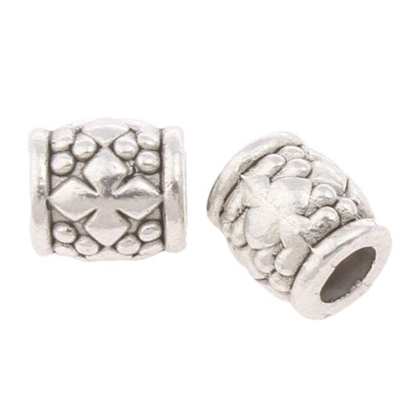 Tibetan Barrel Spacer Beads 6mm Antique Silver 30 Pcs Art Hobby Jewellery Making