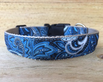 Pretty Blue Paisley Dog Collar